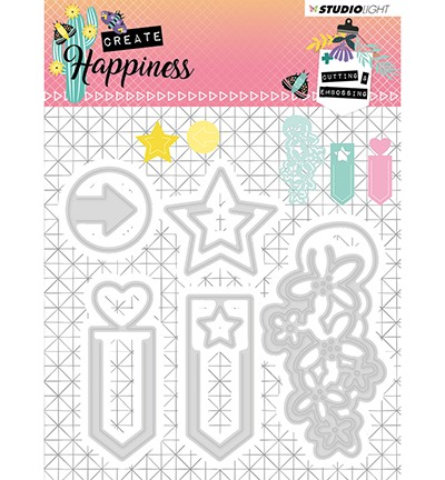 STENCILCR155 - Cutting and Embossing Die Create Happiness nr.155