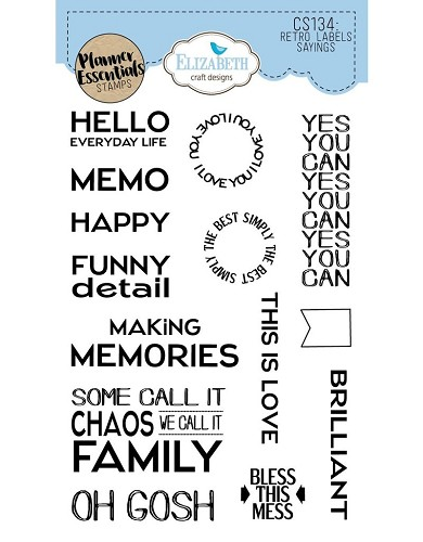 Elizabeth Craft Designs planner clearstamps  Retro Labels Sayings CS134