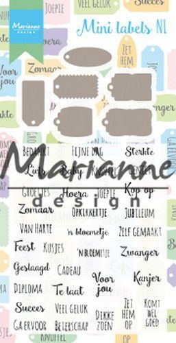 Marianne D Stamp & Die set Mini labels (NL) CS1028 (07-19)