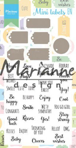 Marianne D Stamp & Die set Mini labels (Eng) CS1029 (07-19)
