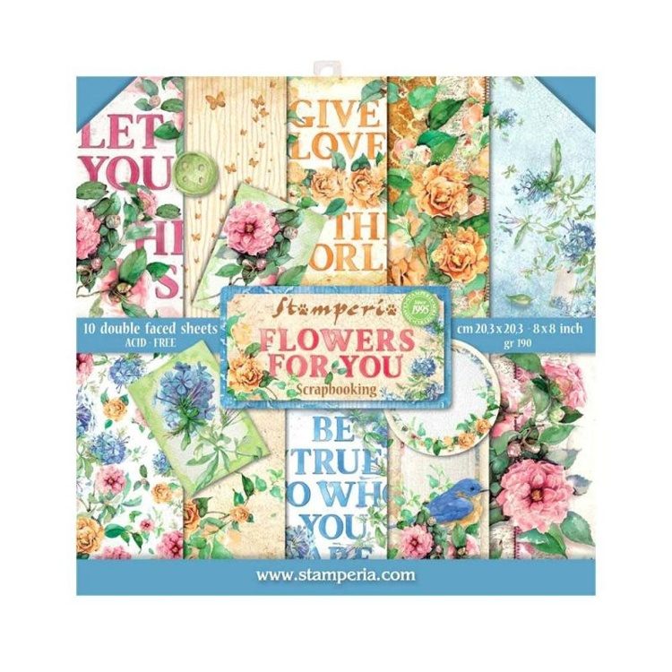 Stamperia Flowers for You 8x8 Inch Paper Pack (SBBS05)