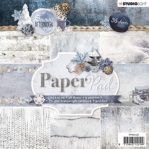 Studio Light Paper pad 36 vel Snowy Afternoon nr.125 PPSA125 15x15cm (08-19)