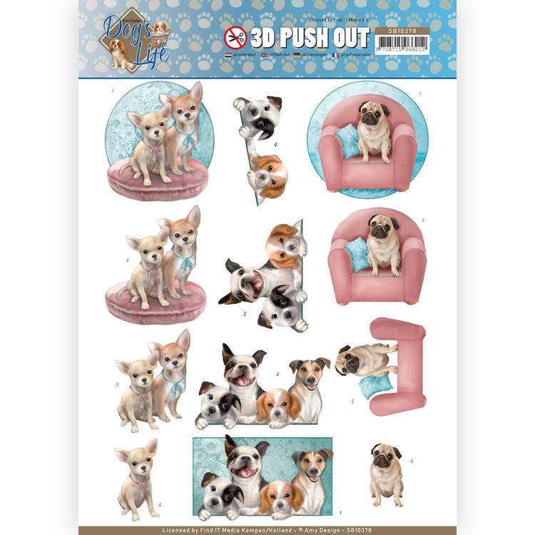 3D Pushout - Amy Design - Dog's Life - All kind of Dogs