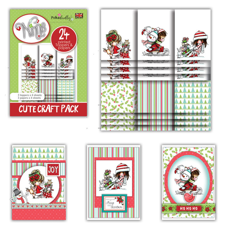 Polkadoodles Winnie Winter Wishes Cute Craft Topper Pack