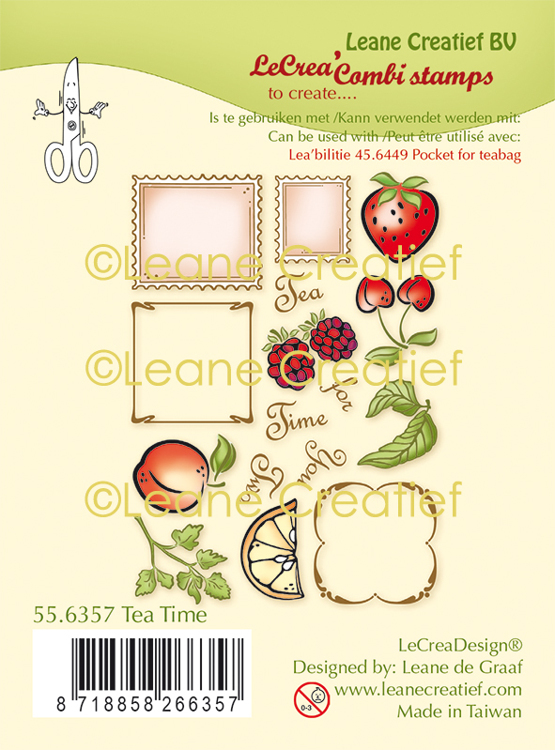 LeCreaDesign® combi clear stamp Thee tijd