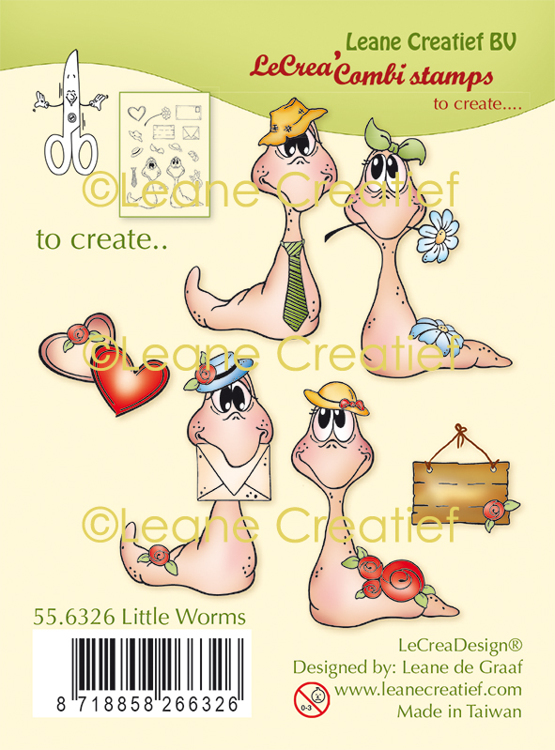 LeCreaDesign® combi clear stamp Wormen