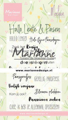 cs1043 Marianne D Clear Stamps Marleen's Hallo Lente & Pasen (NL) 85x120mm (02-20)