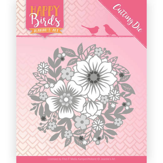 Snijmal - Jeanine's Art - Happy Birds - Bloemencirkel