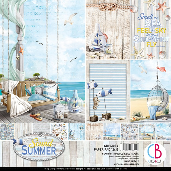 "SOUND OF SUMMER DOUBLE-SIDED PAPER PAD 12""X12"" 12/PKG"