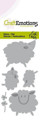CraftEmotions Die - Sheep - schapen Card 5x10cm Carla Creaties (01-20)