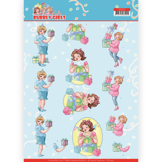 3D cutting sheet - Yvonne Creations - Bubbly Girls - Party - Decorating