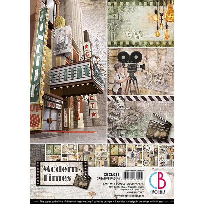 MODERN TIMES DOUBLE-SIDED CREATIVE PAD A4 9/PKG