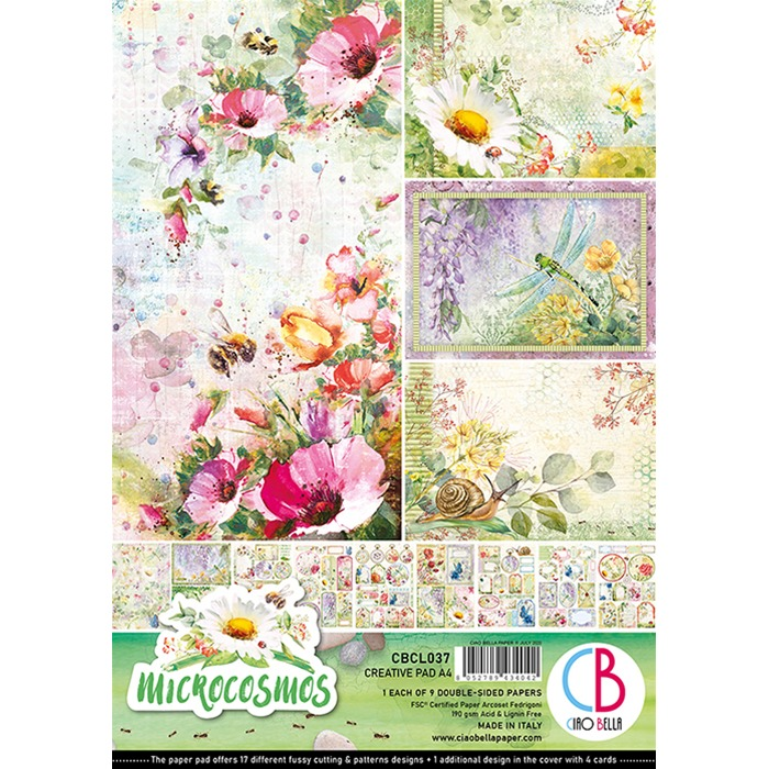MICROCOSMOS DOUBLE-SIDED CREATIVE PAD A4 9/PKG
