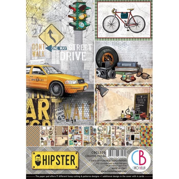 HIPSTER DOUBLE-SIDED CREATIVE PAD A4 9/PKG