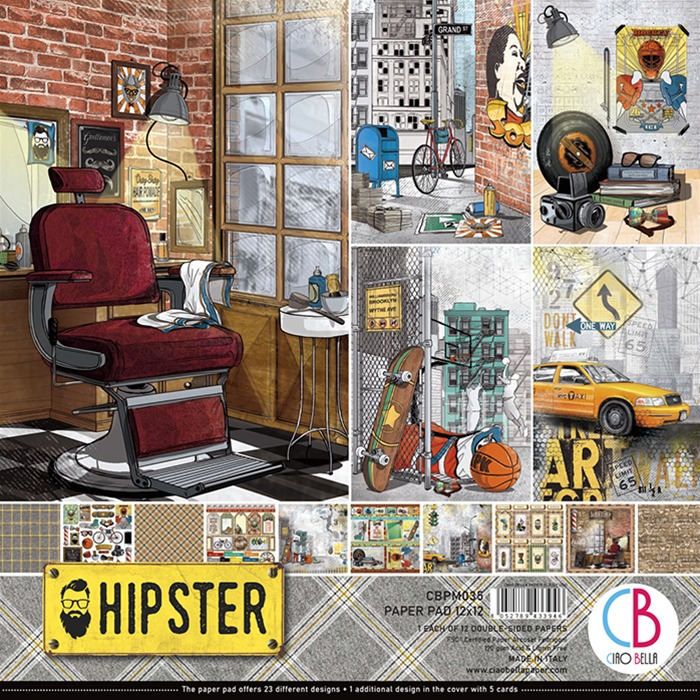 "HIPSTER DOUBLE-SIDED PAPER PAD 12""X12"" 12/PKG"