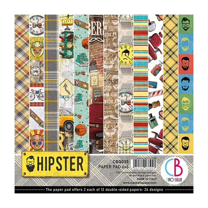 "HIPSTER DOUBLE-SIDED PAPER PAD 6""X6"" 24/PKG"