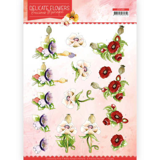 3D Cutting sheet - Precious Marieke - Delicate Flowers - Poppy