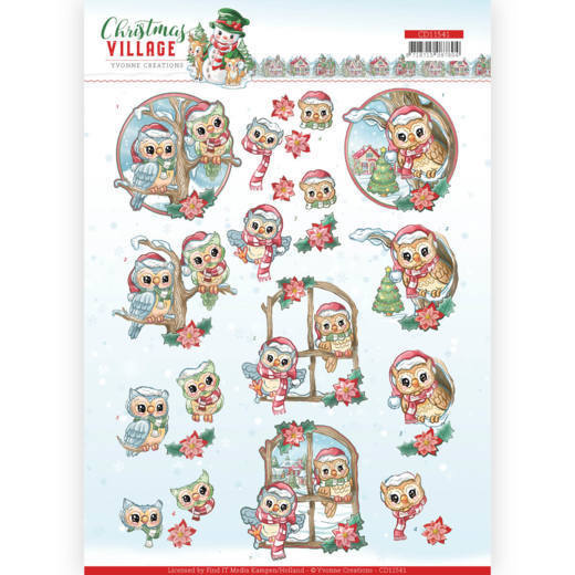 3D cutting sheet - Yvonne Creations - Christmas Village - Christmas Owls