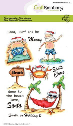 CraftEmotions clearstamps A6 - Santa on Holiday 2 Carla Creaties (08-20)