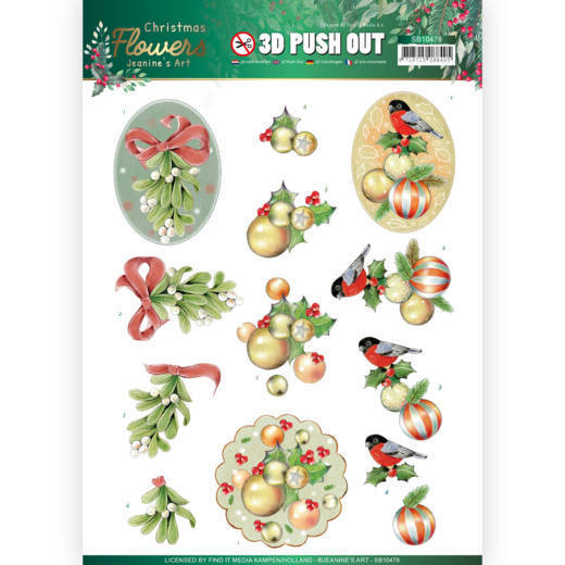 3D Push Out - Jeanines Art  Christmas Flowers - Mistle Toe