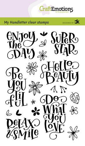 CraftEmotions clearstamps A6 - handletter - Enjoy the day - Super star Carla Kamphuis (10-20)