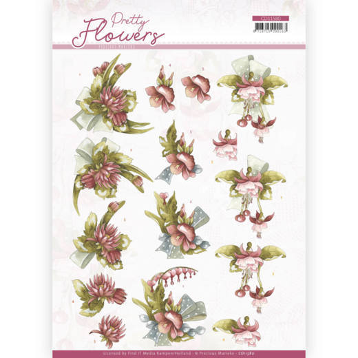 3D cutting sheet - Precious Marieke - Pretty Flowers - Red Flowers
