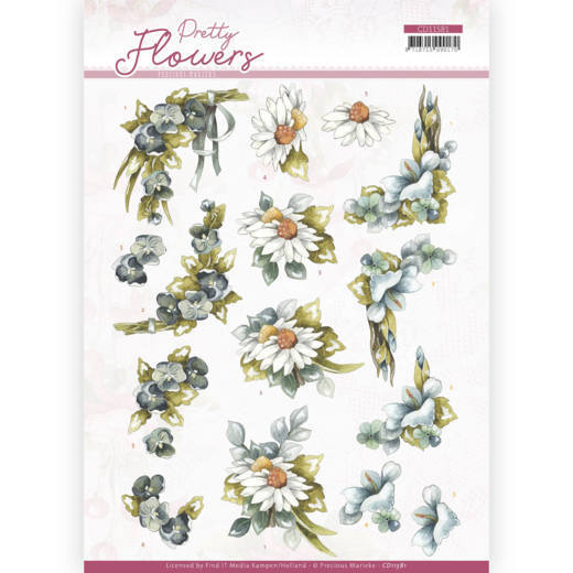 3D cutting sheet - Precious Marieke - Pretty Flowers - Blue Flowers