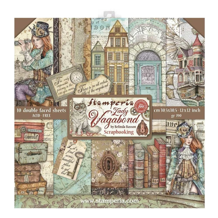 Stamperia Lady Vagabond 12x12 Inch Paper Pack
