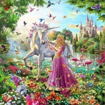 M033A Diamond Painting Set Unicorn - Princess 50x40cm