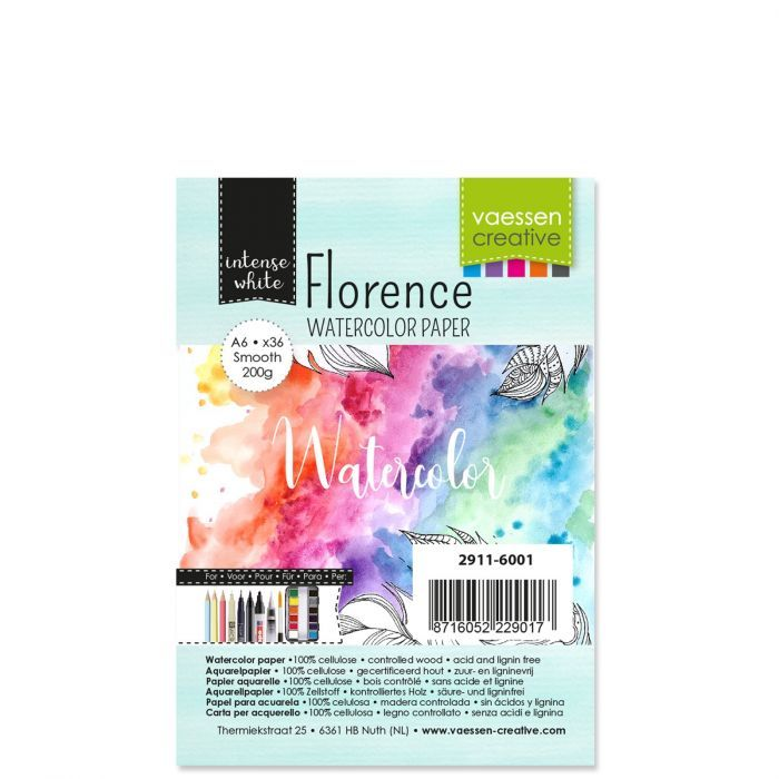 Florence  Aquarelpapier smooth Wit 200g A6 36pcs