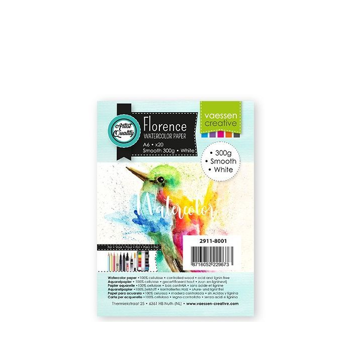 Florence  Aquarelpapier smooth Wit 300g A6 20pcs