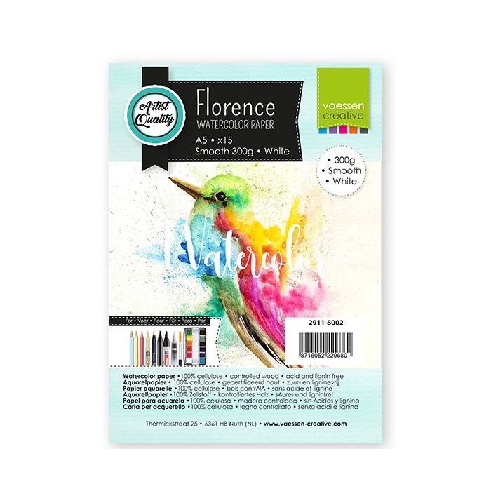 Florence  Aquarelpapier smooth Wit 300g A5 15pcs