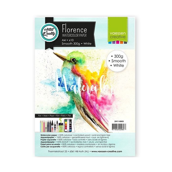 Florence  Aquarelpapier smooth Wit 300g A4 10pcs