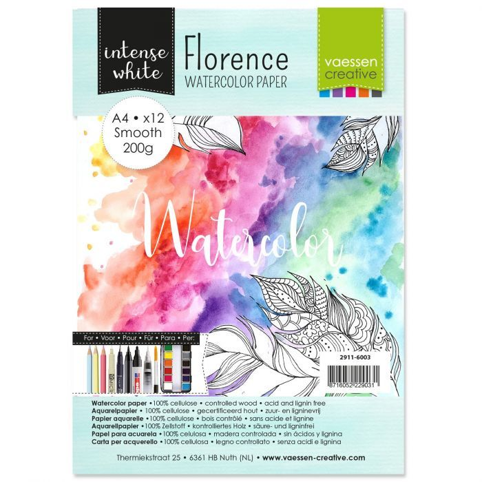 Florence  Aquarelpapier smooth Wit 200g A4 12pcs