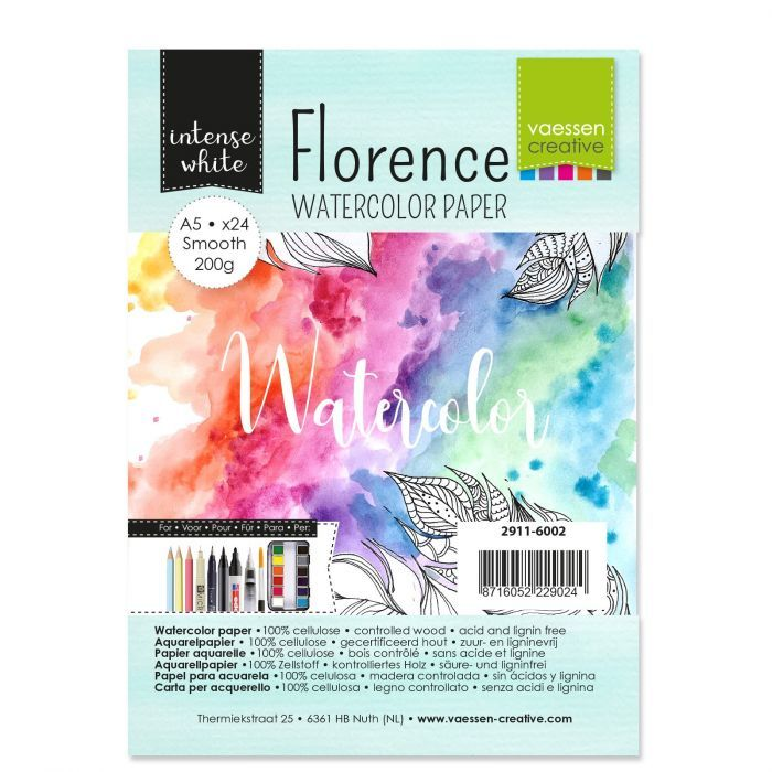 Florence  Aquarelpapier smooth Intens Wit 200g A5 24pcs