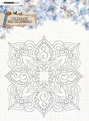 Studio Light Clear Stamp background Celebrate new beginnings nr.519 STAMPCNB519 150x150mm (01-21)