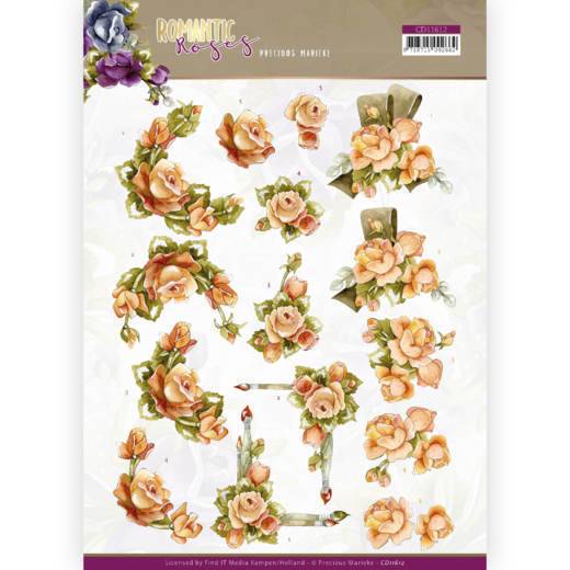 3D cutting sheet - Precious Marieke - Romantic Roses - Orange Rose