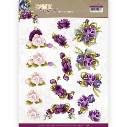 3D cutting sheet - Precious Marieke - Romantic Roses - Purple Rose