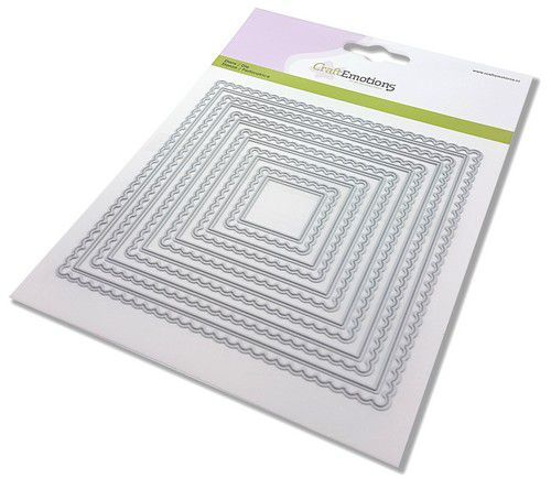 CraftEmotions Big Nesting Die - scalop vierkanten Card 150x160 - scalop 6,5 - 15cm (02-21)