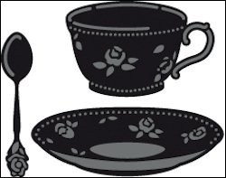 cr1237 Craftables stencil coffee cup with spoon
