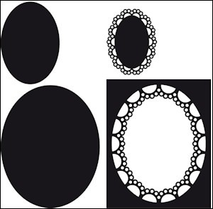 cr1241 Craftables stencil passepartout oval