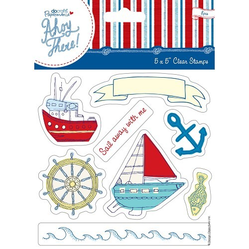5 x 5`` Clear Stamp (8pcs) - Ahoy There - Sail Away With Me