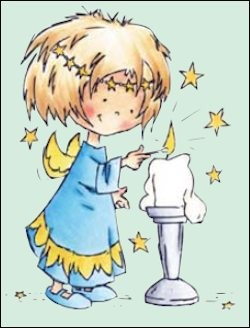 Clear Stamp Daisy lighting a candle