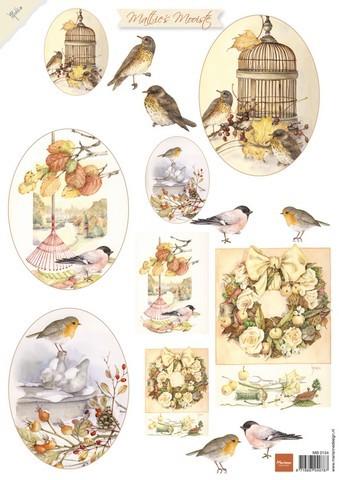 mb0154 Marianne D 3D Knipvellen Mattie mooiste herfst vogels A4