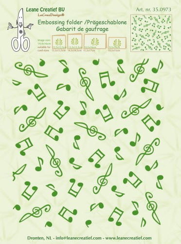 Embossing folder background Musical symbols 14.4x16cm