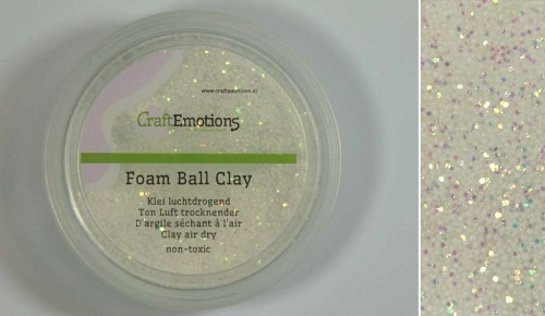 Foamball clay - luchtdrogende klei - wit glitter 50gr