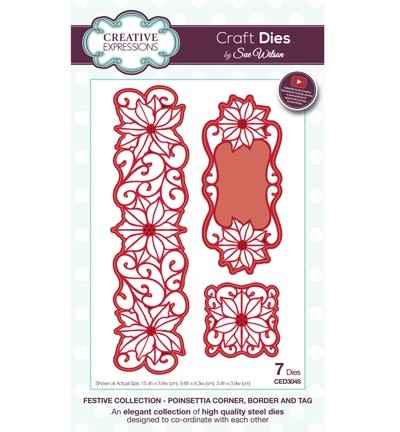ced3048 Craft Dies Poinsettia Corner, Border and Tag