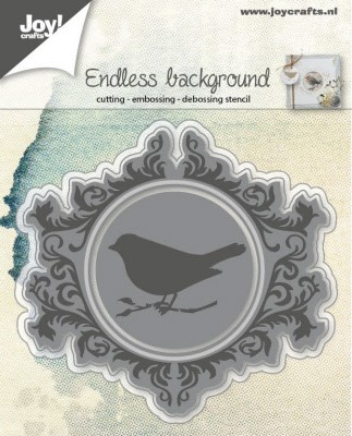 6002/0573 Snij-/Embos/Debos stencil endless background with bird