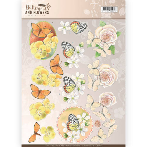 3D Knipvel - Jeanine`s Art - Classic Butterflies and Flowers - Yellow Flowers